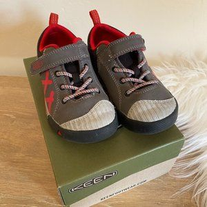 Keen Gray & Red Velcro Shoes Size 10